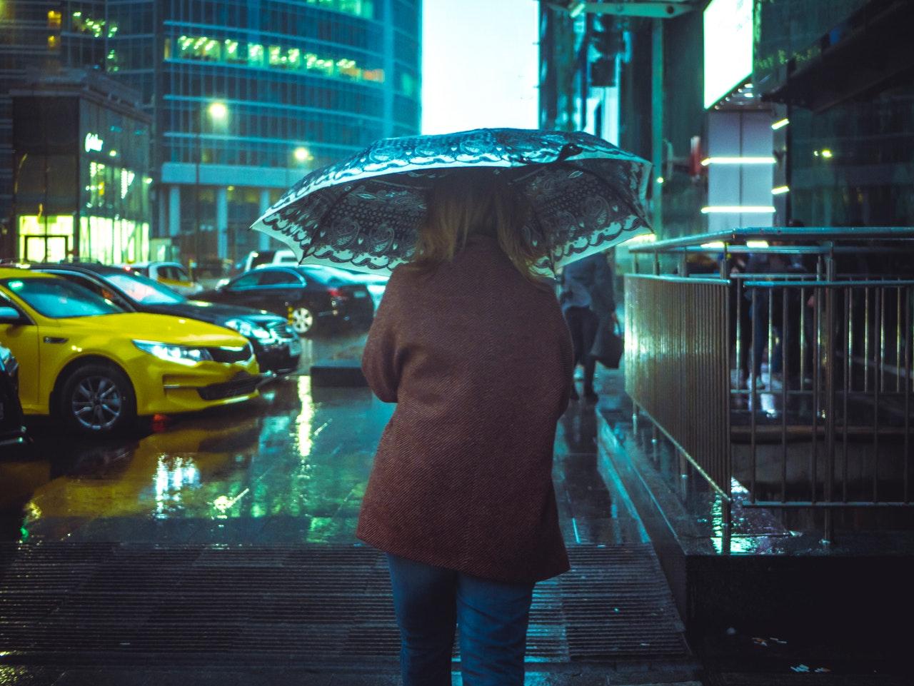 wet coat and umbrella